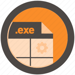 document, exe, extension, file, format, round, roundettes icon