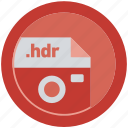 document, extension, file, format, hdr, round, roundettes icon