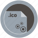 document, extension, file, format, ico, round, roundettes icon