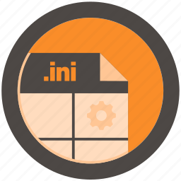 document, extension, file, format, ini, round, roundettes icon