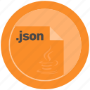 document, extension, file, format, json, round, roundettes icon