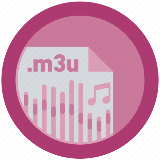 document, extension, file, format, m3u, round, roundettes icon