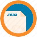 document, extension, file, format, max, round, roundettes icon