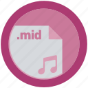 document, extension, file, format, mid, round, roundettes icon