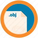 document, extension, file, format, obj, round, roundettes icon