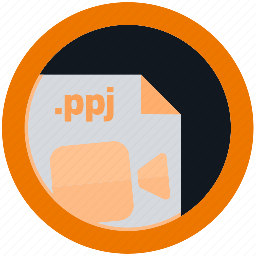 document, extension, file, format, ppj, round, roundettes icon