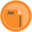 document, extension, file, format, round, roundettes, tar icon