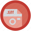 document, extension, file, format, round, roundettes, tiff icon