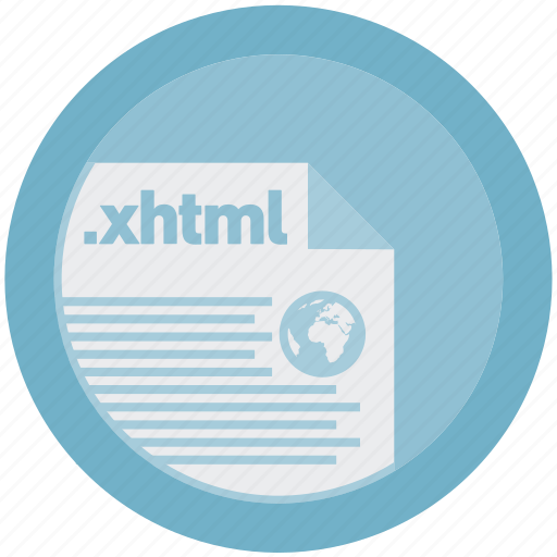 document, extension, file, format, round, roundettes, xhtml icon