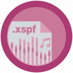 document, extension, file, format, round, roundettes, xspf icon