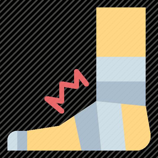 bandage, foot, gauze, injury icon