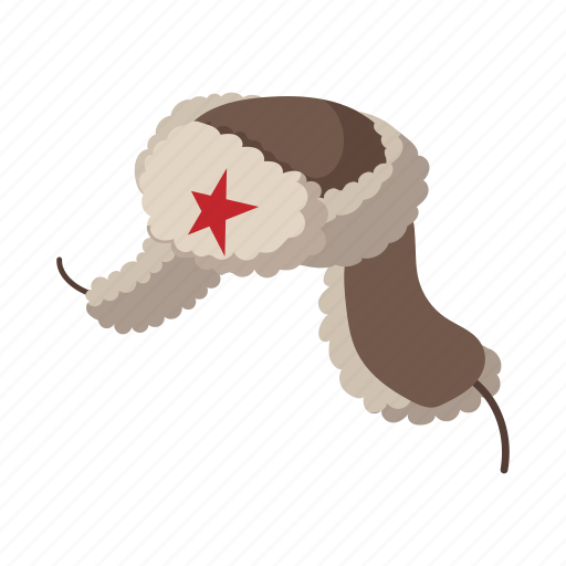 cap, cartoon, ear-flap, fur, hat, russian, winter icon