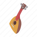 balalaika, cartoon, music, musical, retro, string, traditional icon