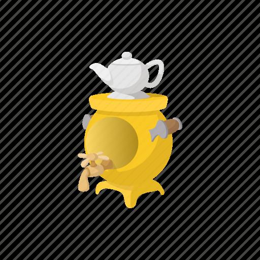 cartoon, kettle, russian, samovar, tea, teapot, traditional icon