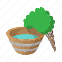bath, broom, cartoon, russian, tub, wood, wooden icon
