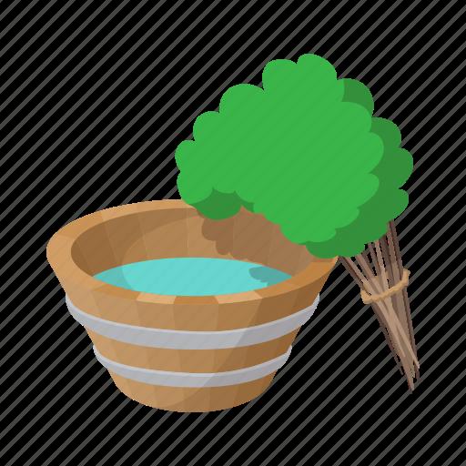 bath, broom, cartoon, russian, tub, wood, wooden icon