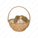 basket, cartoon, edible, food, fungus, mushroom, nature icon