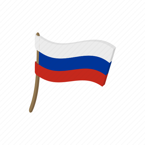 cartoon, country, flag, russia, russian, waving, wind icon