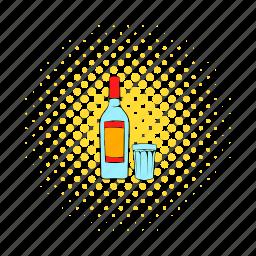 alcohol, beverage, bottle, comics, glass, liquid, vodka icon