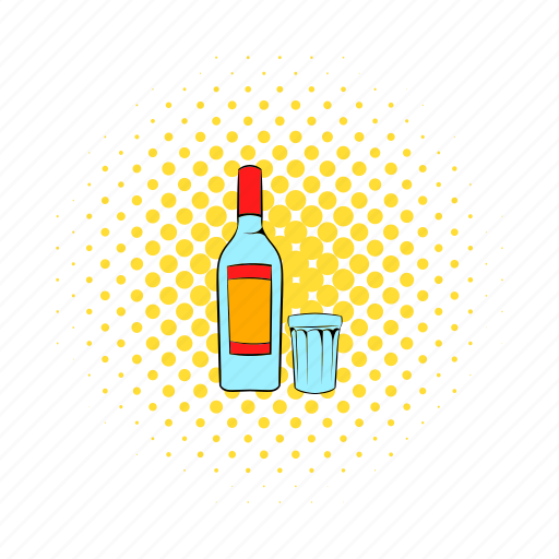 alcohol, beverage, bottle, comics, glass, liquid, vodka icon