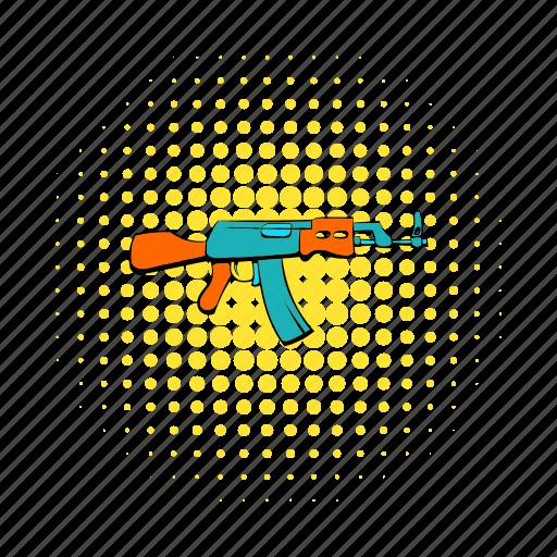 army, comics, gun, kalashnikov, military, rifle, weapon icon