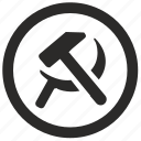communism, hammer, politics, russia, sickle icon