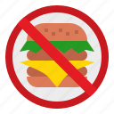 cooking, eat, food, hamburger, healthy, no, sign