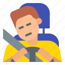 danger, driver, driving, road, safety, sleepy, tired icon