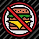cooking, eat, food, hamburger, healthy, no, sign icon