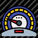 car, dashboard, meter, slow, speed, speedometer icon