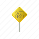 caution, danger, first, road, safety, traffic, warning icon