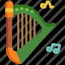harp, instrument, multimedia, music, philharmonic, saint patrick, song icon