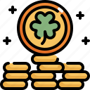 celebration, coin, gold, money, patrick, saint patricks day, shamrock icon