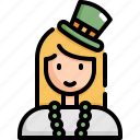 avatar, celebration, female, patrick, saint patricks day, woman icon