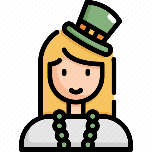 avatar, celebration, female, patrick, saint patricks day, woman icon