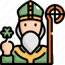 celebration, patrick, priest, saint patricks day icon
