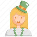 avatar, celebration, patrick, saint patricks day, woman icon