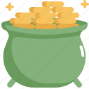 celebration, coin, gold, patrick, pot, saint patricks day icon