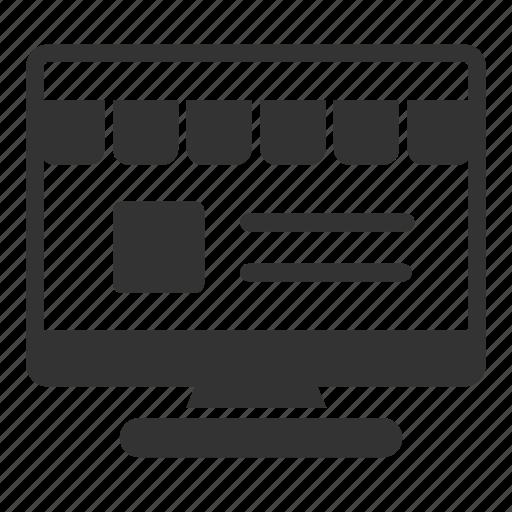 monitor, olshop, online, sales, shop, website icon