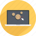 click, coin, content, laptop, money, shopping, web icon
