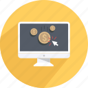 click, coin, earn, money, online money, teach, work online icon