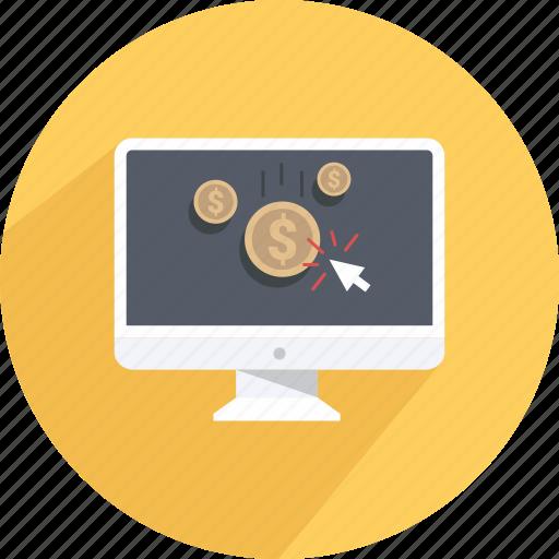 click, coin, earn, money, online money, teach, work online icon