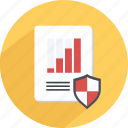 data, guaranteed, protection, report, safe, statistics icon