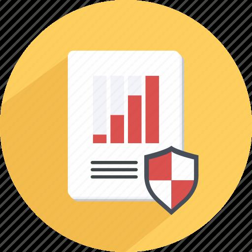 data, guaranteed, protection, report, safe, statistics icon