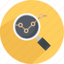 analytics, analyze, magnify, search, view analytics, view report icon