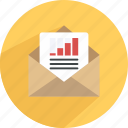 chart, email report, messages, report, statistics newsletter icon