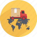 buy, delivery, map, pay, shopping, truck, world icon