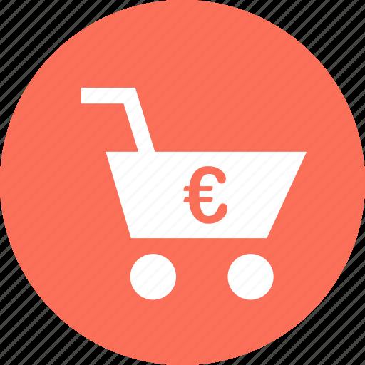 cart, ecommerce, euro, sign, web icon