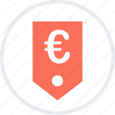 euro, money, sales, shopping, sign, tag icon