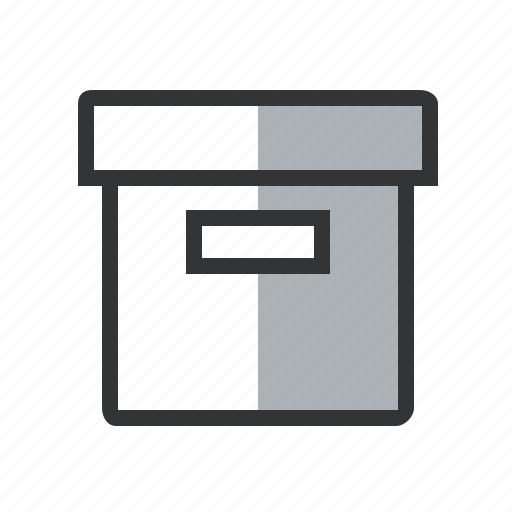 archive, box, chancellery, delivery, line, moving box, office icon